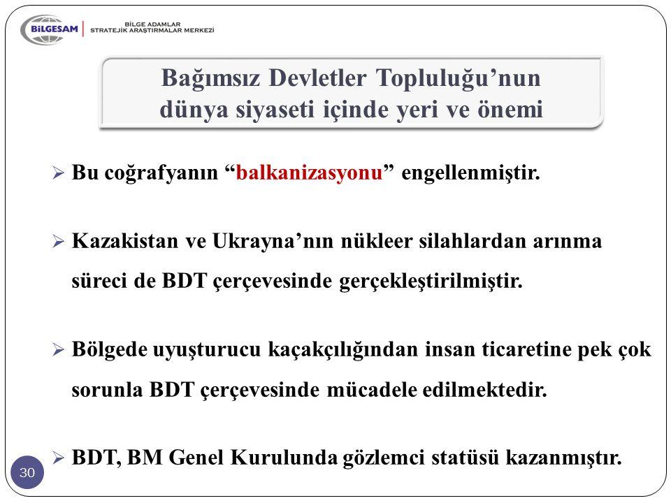 """30  Bu coğrafyanın """"balkanizasyonu"""" engellenmiştir.  Kazakistan ve Ukrayna'nın nükleer silahlardan arınma süreci de BDT çerçevesinde gerçekleştirilm"""