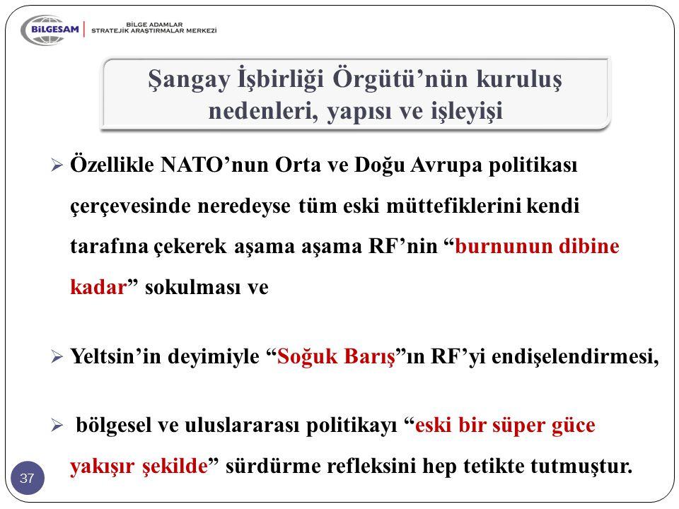 """37  Özellikle NATO'nun Orta ve Doğu Avrupa politikası çerçevesinde neredeyse tüm eski müttefiklerini kendi tarafına çekerek aşama aşama RF'nin """"burnu"""