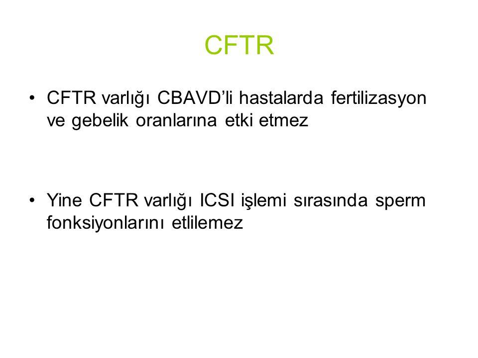 CFTR CFTR varlığı CBAVD'li hastalarda fertilizasyon ve gebelik oranlarına etki etmez Yine CFTR varlığı ICSI işlemi sırasında sperm fonksiyonlarını etlilemez