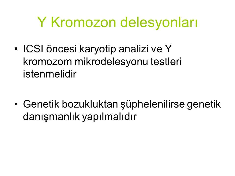 ICSI öncesi karyotip analizi ve Y kromozom mikrodelesyonu testleri istenmelidir Genetik bozukluktan şüphelenilirse genetik danışmanlık yapılmalıdır