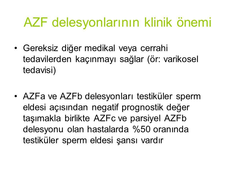 AZF delesyonlarının klinik önemi Gereksiz diğer medikal veya cerrahi tedavilerden kaçınmayı sağlar (ör: varikosel tedavisi) AZFa ve AZFb delesyonları testiküler sperm eldesi açısından negatif prognostik değer taşımakla birlikte AZFc ve parsiyel AZFb delesyonu olan hastalarda %50 oranında testiküler sperm eldesi şansı vardır