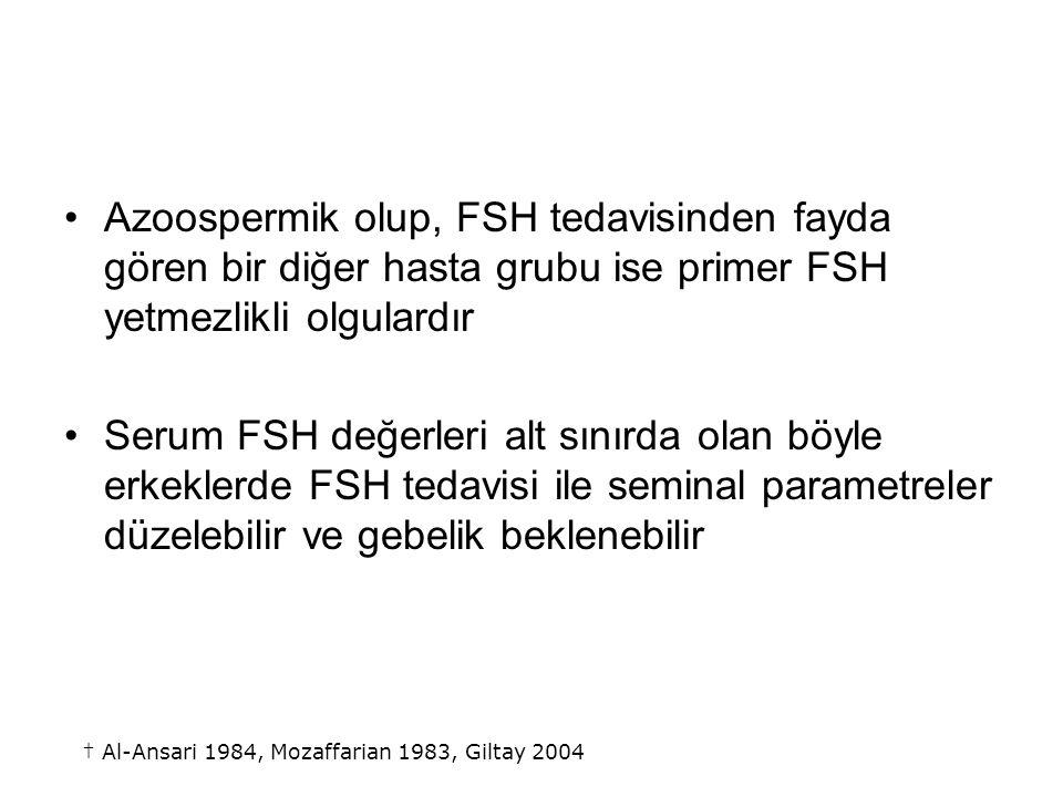 Azoospermik olup, FSH tedavisinden fayda gören bir diğer hasta grubu ise primer FSH yetmezlikli olgulardır Serum FSH değerleri alt sınırda olan böyle erkeklerde FSH tedavisi ile seminal parametreler düzelebilir ve gebelik beklenebilir † Al-Ansari 1984, Mozaffarian 1983, Giltay 2004