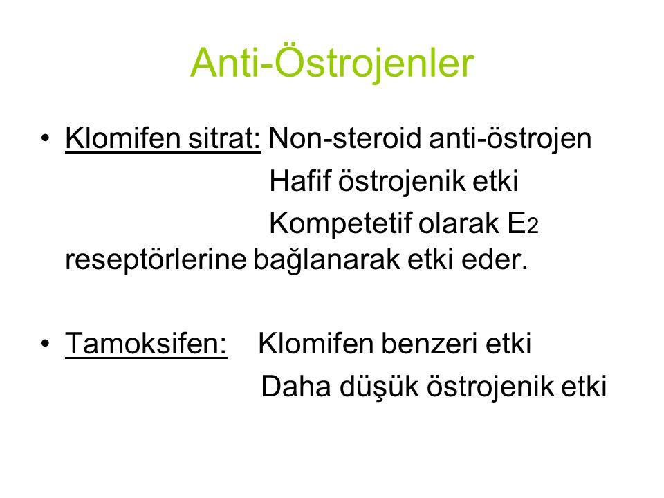 Anti-Östrojenler Klomifen sitrat: Non-steroid anti-östrojen Hafif östrojenik etki Kompetetif olarak E 2 reseptörlerine bağlanarak etki eder.