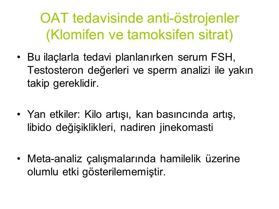 OAT tedavisinde anti-östrojenler (Klomifen ve tamoksifen sitrat) Bu ilaçlarla tedavi planlanırken serum FSH, Testosteron değerleri ve sperm analizi ile yakın takip gereklidir.