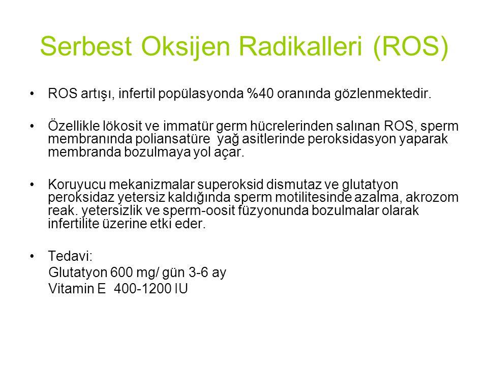 Serbest Oksijen Radikalleri (ROS) ROS artışı, infertil popülasyonda %40 oranında gözlenmektedir.