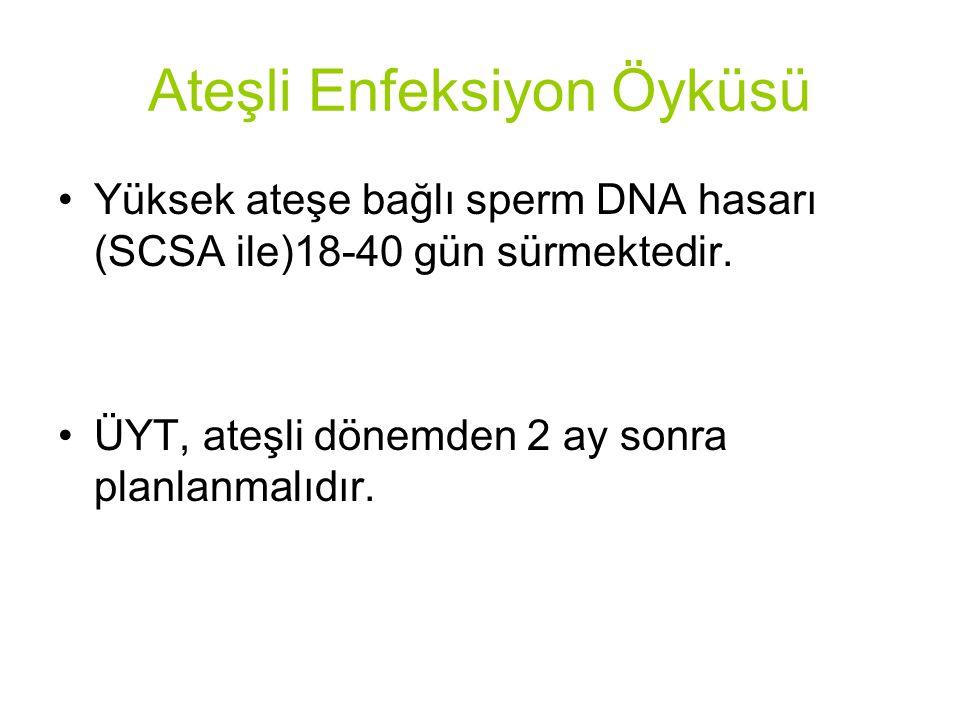 Ateşli Enfeksiyon Öyküsü Yüksek ateşe bağlı sperm DNA hasarı (SCSA ile)18-40 gün sürmektedir.