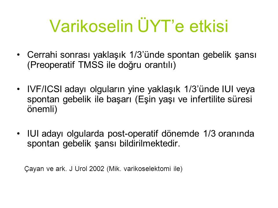 Varikoselin ÜYT'e etkisi Cerrahi sonrası yaklaşık 1/3'ünde spontan gebelik şansı (Preoperatif TMSS ile doğru orantılı) IVF/ICSI adayı olguların yine yaklaşık 1/3'ünde IUI veya spontan gebelik ile başarı (Eşin yaşı ve infertilite süresi önemli) IUI adayı olgularda post-operatif dönemde 1/3 oranında spontan gebelik şansı bildirilmektedir.