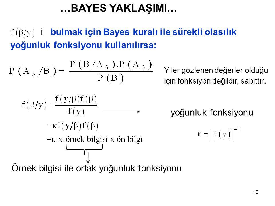 10 i bulmak için Bayes kuralı ile sürekli olasılık yoğunluk fonksiyonu kullanılırsa: yoğunluk fonksiyonu Y'ler gözlenen değerler olduğu için fonksiyon