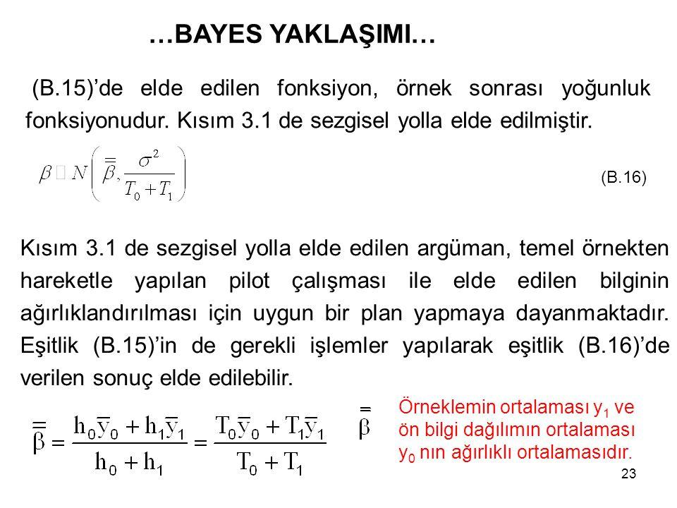 23 …BAYES YAKLAŞIMI… (B.15)'de elde edilen fonksiyon, örnek sonrası yoğunluk fonksiyonudur. Kısım 3.1 de sezgisel yolla elde edilmiştir. Kısım 3.1 de