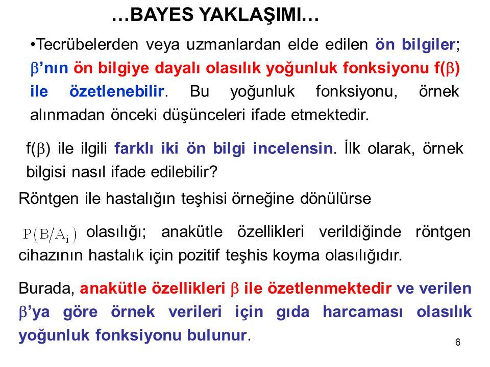 67 Yukarıdaki iki bilgi Bayes kuralı ile birleştirilebilir.