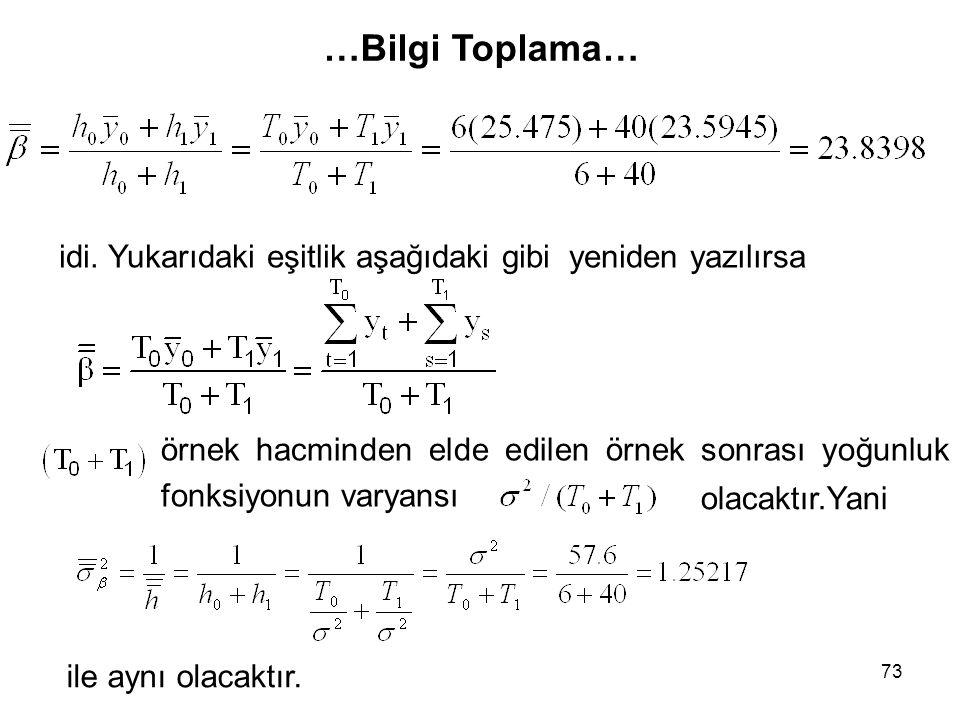 73 idi. Yukarıdaki eşitlik aşağıdaki gibi yeniden yazılırsa örnek hacminden elde edilen örnek sonrası yoğunluk fonksiyonun varyansı ile aynı olacaktır