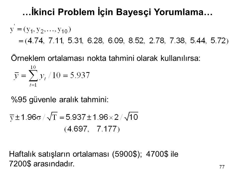 77 …İkinci Problem İçin Bayesçi Yorumlama… Örneklem ortalaması nokta tahmini olarak kullanılırsa: %95 güvenle aralık tahmini: Haftalık satışların orta