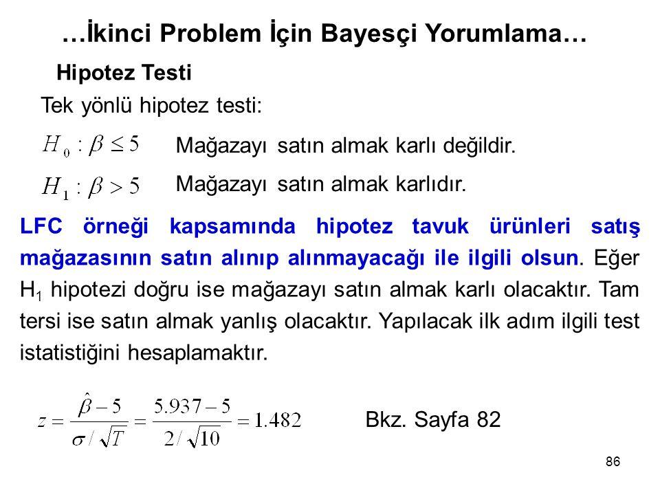 86 …İkinci Problem İçin Bayesçi Yorumlama… Hipotez Testi Tek yönlü hipotez testi: LFC örneği kapsamında hipotez tavuk ürünleri satış mağazasının satın