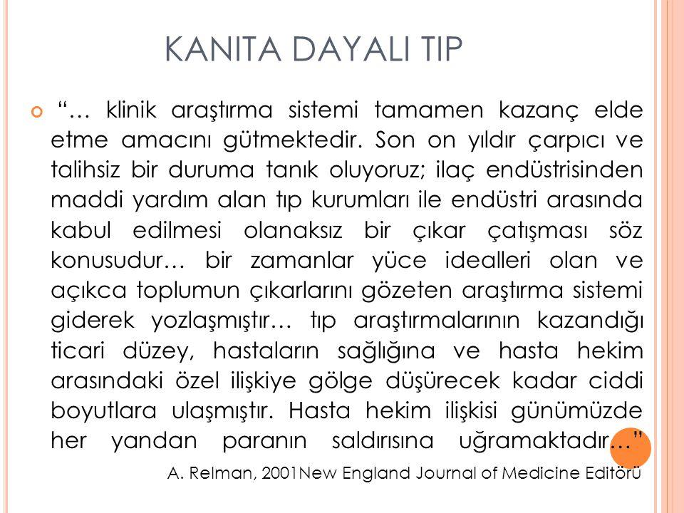 """KANITA DAYALI TIP """"… klinik araştırma sistemi tamamen kazanç elde etme amacını gütmektedir. Son on yıldır çarpıcı ve talihsiz bir duruma tanık oluyoru"""