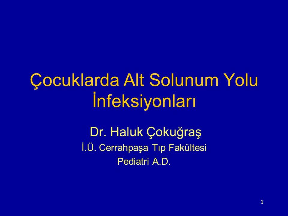 1 Çocuklarda Alt Solunum Yolu İnfeksiyonları Dr. Haluk Çokuğraş İ.Ü. Cerrahpaşa Tıp Fakültesi Pediatri A.D.