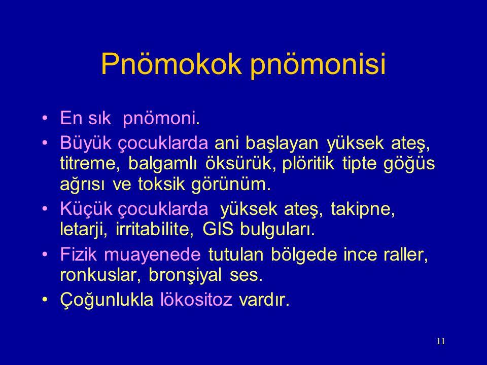 11 Pnömokok pnömonisi En sık pnömoni. Büyük çocuklarda ani başlayan yüksek ateş, titreme, balgamlı öksürük, plöritik tipte göğüs ağrısı ve toksik görü