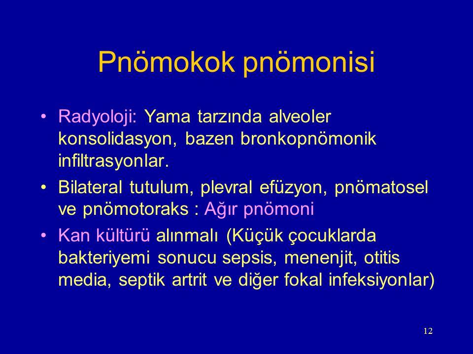 12 Pnömokok pnömonisi Radyoloji: Yama tarzında alveoler konsolidasyon, bazen bronkopnömonik infiltrasyonlar. Bilateral tutulum, plevral efüzyon, pnöma