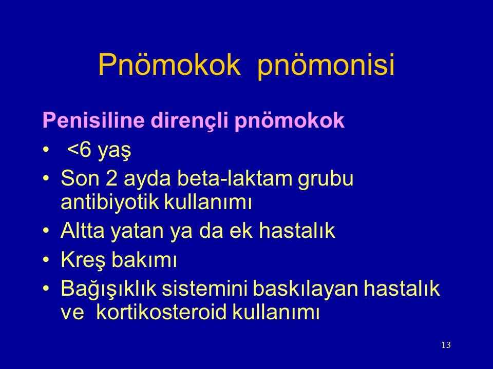 13 Pnömokok pnömonisi Penisiline dirençli pnömokok <6 yaş Son 2 ayda beta-laktam grubu antibiyotik kullanımı Altta yatan ya da ek hastalık Kreş bakımı