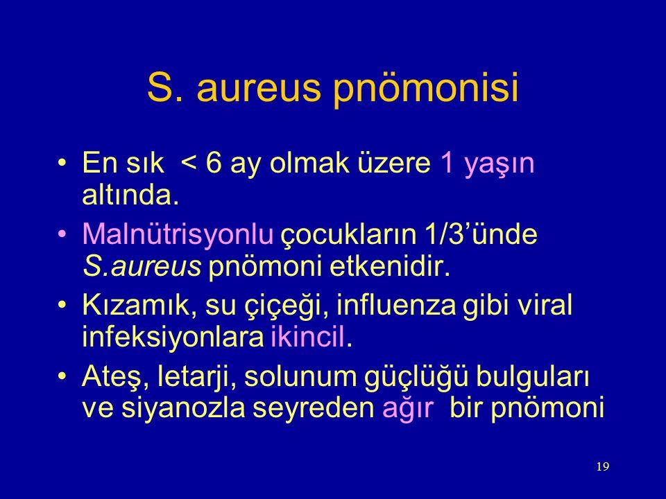 19 S. aureus pnömonisi En sık < 6 ay olmak üzere 1 yaşın altında. Malnütrisyonlu çocukların 1/3'ünde S.aureus pnömoni etkenidir. Kızamık, su çiçeği, i