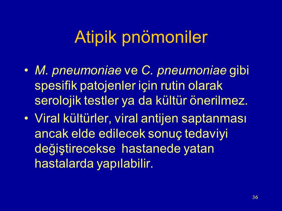 36 Atipik pnömoniler M. pneumoniae ve C. pneumoniae gibi spesifik patojenler için rutin olarak serolojik testler ya da kültür önerilmez. Viral kültürl