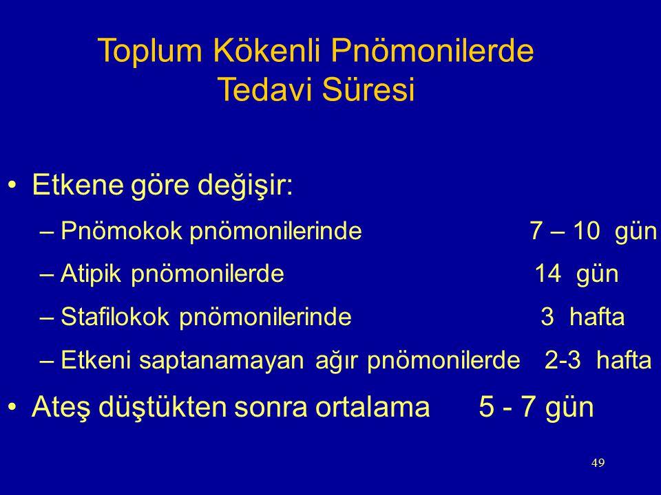 49 Toplum Kökenli Pnömonilerde Tedavi Süresi Etkene göre değişir: –Pnömokok pnömonilerinde 7 – 10 gün –Atipik pnömonilerde 14 gün –Stafilokok pnömonil