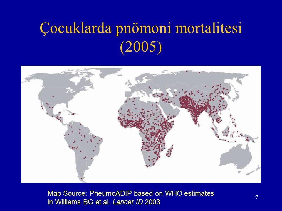 7 Çocuklarda pnömoni mortalitesi (2005) Map Source: PneumoADIP based on WHO estimates in Williams BG et al. Lancet ID 2003