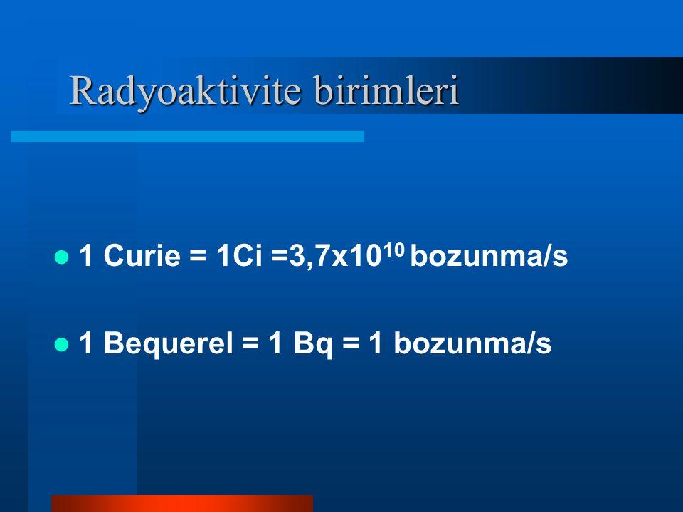 Radyoaktivite birimleri Radyoaktivite birimleri 1 Curie = 1Ci =3,7x10 10 bozunma/s 1 Bequerel = 1 Bq = 1 bozunma/s