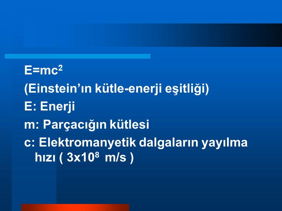 E=mc 2 (Einstein'ın kütle-enerji eşitliği) E: Enerji m: Parçacığın kütlesi c: Elektromanyetik dalgaların yayılma hızı ( 3x10 8 m/s )