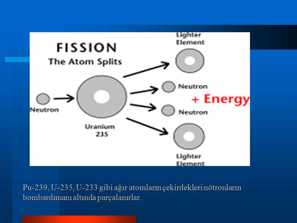 Pu-239, U-235, U-233 gibi ağır atomların çekirdekleri nötronların bombardımanı altında parçalanırlar.