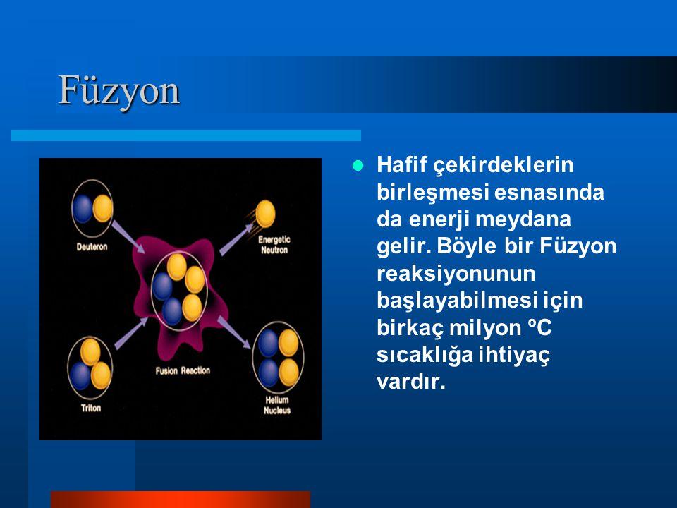 Füzyon Hafif çekirdeklerin birleşmesi esnasında da enerji meydana gelir. Böyle bir Füzyon reaksiyonunun başlayabilmesi için birkaç milyon ºC sıcaklığa