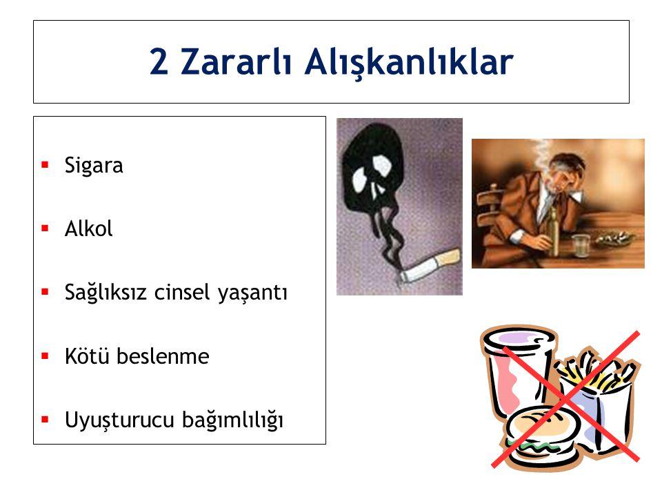 2 Zararlı Alışkanlıklar  Sigara  Alkol  Sağlıksız cinsel yaşantı  Kötü beslenme  Uyuşturucu bağımlılığı