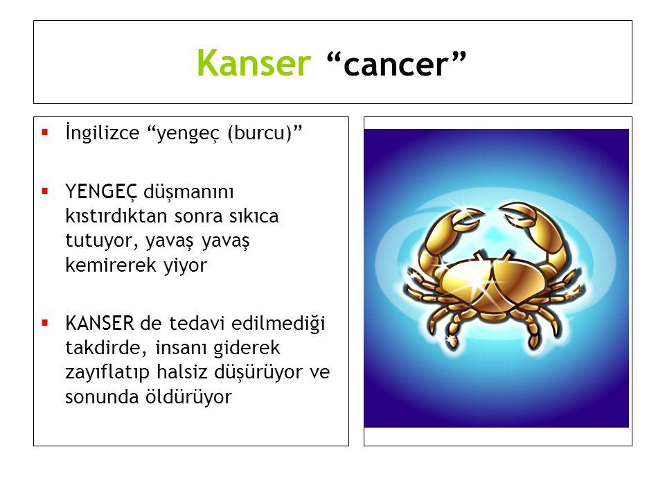 """Kanser """"cancer""""  İngilizce """"yengeç (burcu)""""  YENGEÇ düşmanını kıstırdıktan sonra sıkıca tutuyor, yavaş yavaş kemirerek yiyor  KANSER de tedavi edil"""