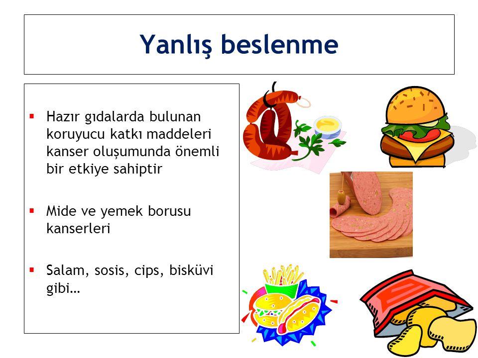  Hazır gıdalarda bulunan koruyucu katkı maddeleri kanser oluşumunda önemli bir etkiye sahiptir  Mide ve yemek borusu kanserleri  Salam, sosis, cips