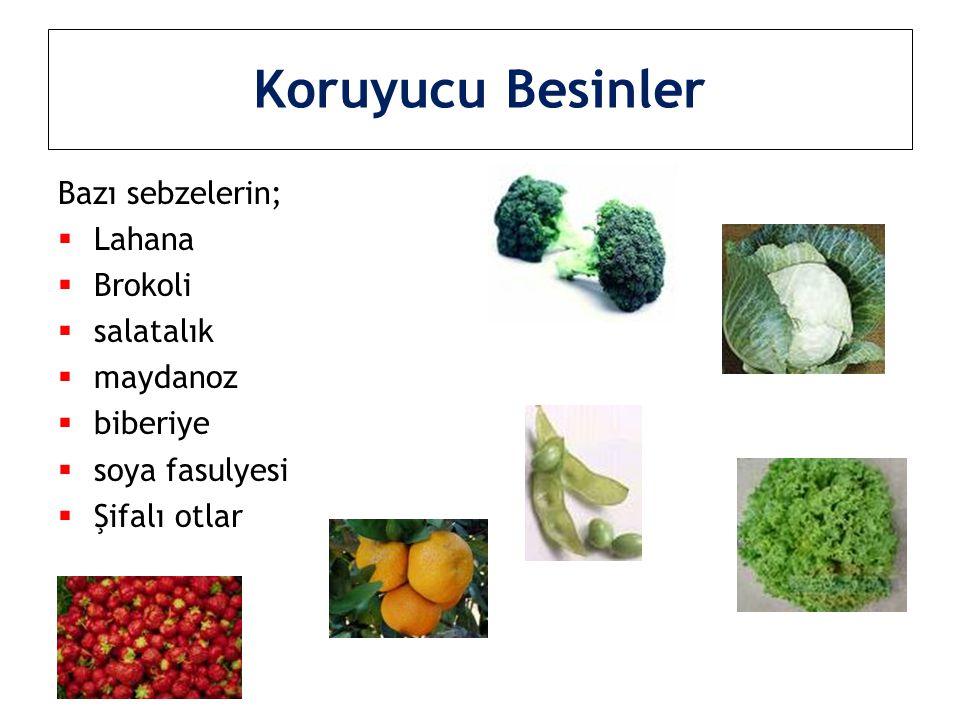 Koruyucu Besinler Bazı sebzelerin;  Lahana  Brokoli  salatalık  maydanoz  biberiye  soya fasulyesi  Şifalı otlar