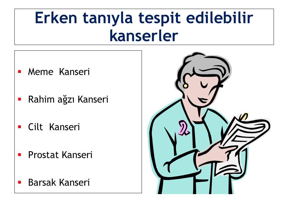 Erken tanıyla tespit edilebilir kanserler  Meme Kanseri  Rahim ağzı Kanseri  Cilt Kanseri  Prostat Kanseri  Barsak Kanseri
