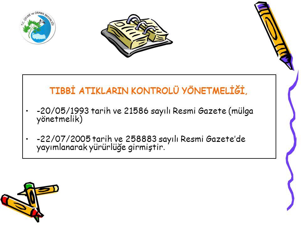 TIBBİ ATIKLARIN KONTROLÜ YÖNETMELİĞİ, -20/05/1993 tarih ve 21586 sayılı Resmi Gazete (mülga yönetmelik) -22/07/2005 tarih ve 258883 sayılı Resmi Gazete'de yayımlanarak yürürlüğe girmiştir.