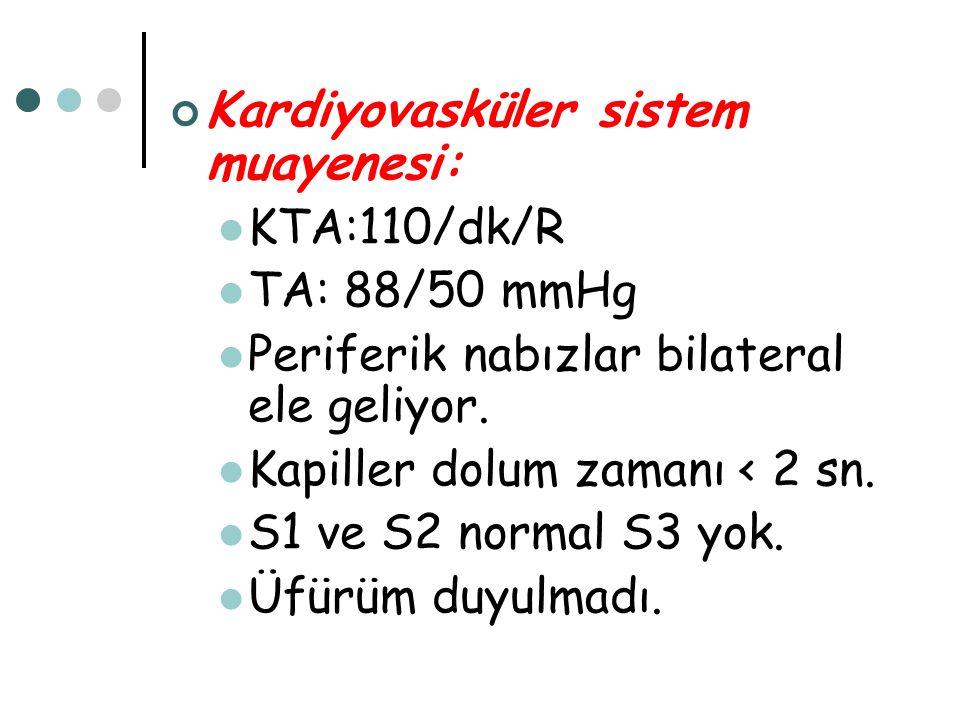 Kardiyovasküler sistem muayenesi: KTA:110/dk/R TA: 88/50 mmHg Periferik nabızlar bilateral ele geliyor. Kapiller dolum zamanı < 2 sn. S1 ve S2 normal