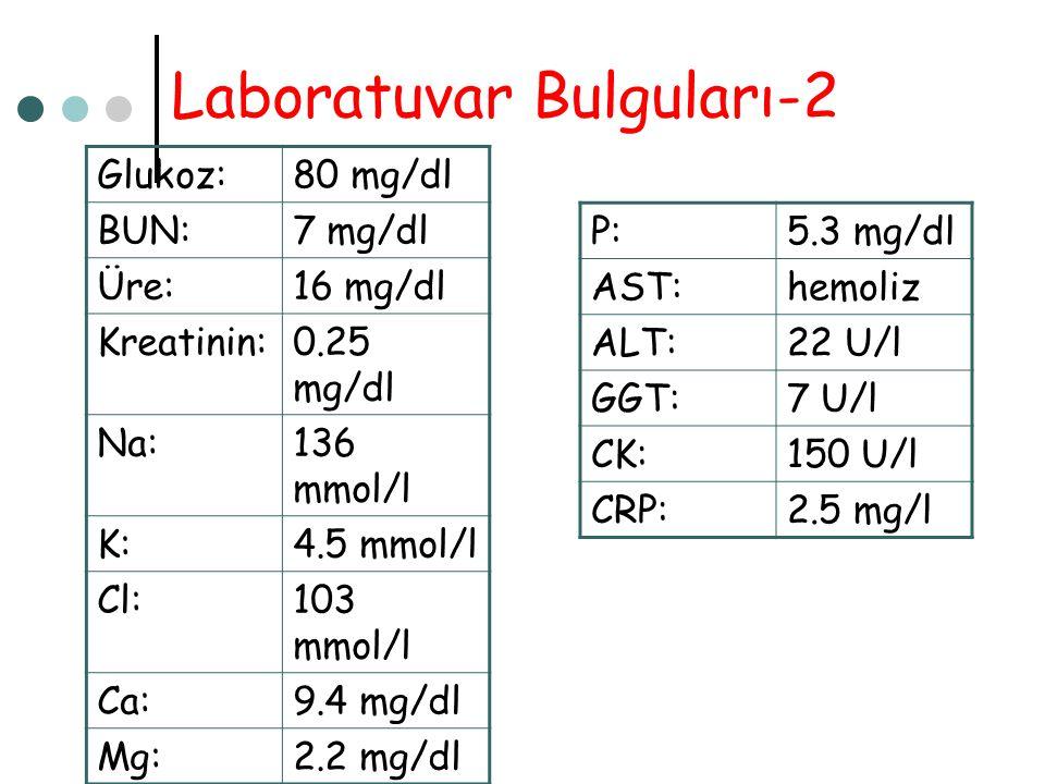 Laboratuvar Bulguları-2 Glukoz:80 mg/dl BUN:7 mg/dl Üre:16 mg/dl Kreatinin:0.25 mg/dl Na:136 mmol/l K:4.5 mmol/l Cl:103 mmol/l Ca:9.4 mg/dl Mg:2.2 mg/