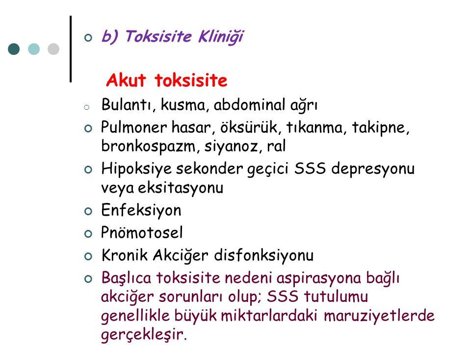 b) Toksisite Kliniği Akut toksisite o Bulantı, kusma, abdominal ağrı Pulmoner hasar, öksürük, tıkanma, takipne, bronkospazm, siyanoz, ral Hipoksiye se