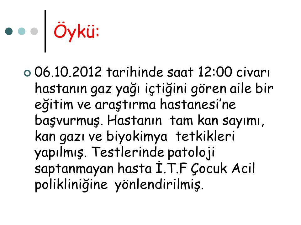 Öykü: 06.10.2012 tarihinde saat 12:00 civarı hastanın gaz yağı içtiğini gören aile bir eğitim ve araştırma hastanesi'ne başvurmuş. Hastanın tam kan sa