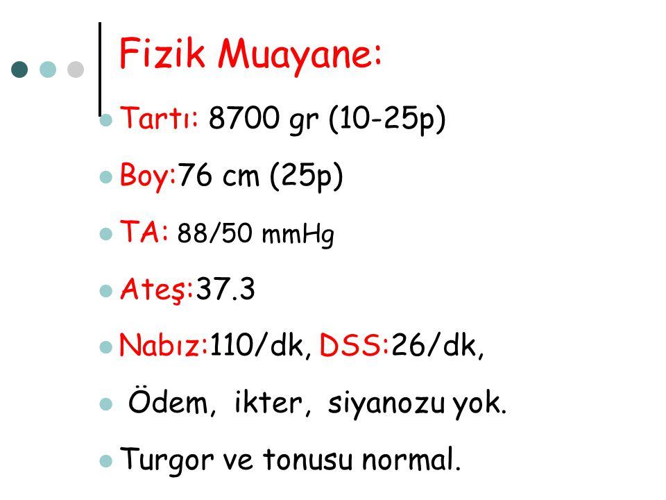 Fizik Muayane: Tartı: 8700 gr (10-25p) Boy:76 cm (25p) TA: 88/50 mmHg Ateş:37.3 Nabız:110/dk, DSS:26/dk, Ödem, ikter, siyanozu yok. Turgor ve tonusu n