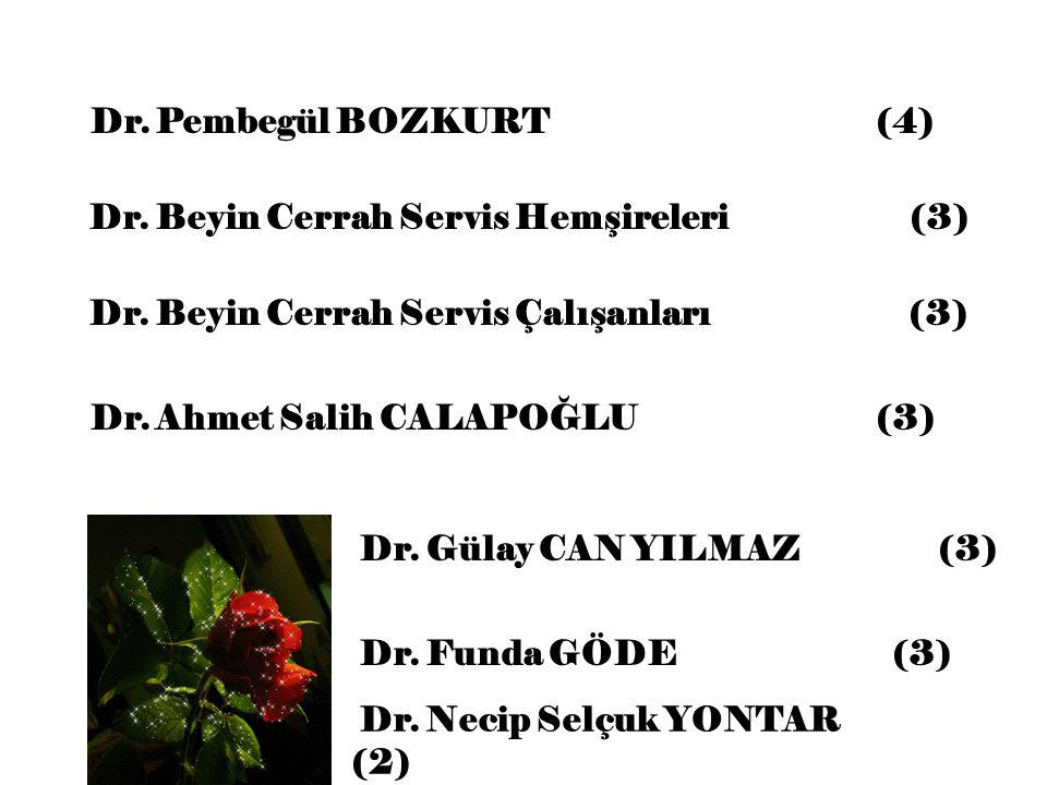 Dr. Pembegül BOZKURT (4) Dr. Beyin Cerrah Servis Hemşireleri (3) Dr. Ahmet Salih CALAPOĞLU (3) Dr. Gülay CAN YILMAZ (3) Dr. Necip Selçuk YONTAR (2) Dr