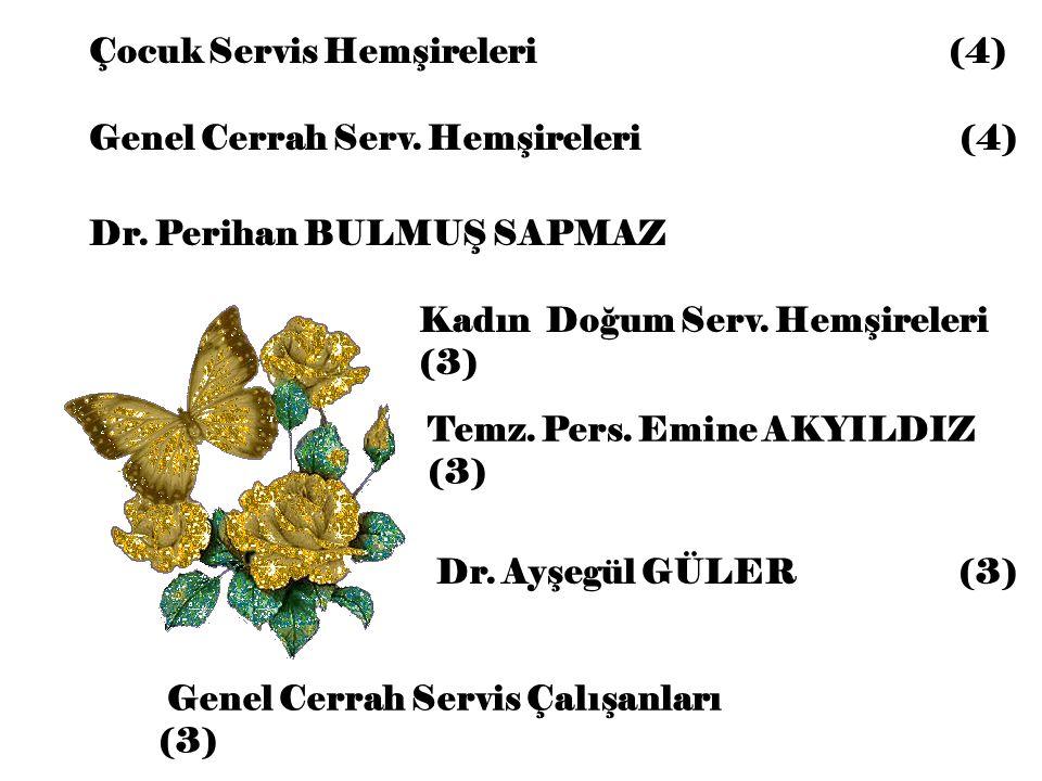 Çocuk Servis Hemşireleri (4) Kadın Doğum Serv. Hemşireleri (3) Temz. Pers. Emine AKYILDIZ (3) Genel Cerrah Serv. Hemşireleri (4) Dr. Perihan BULMUŞ SA