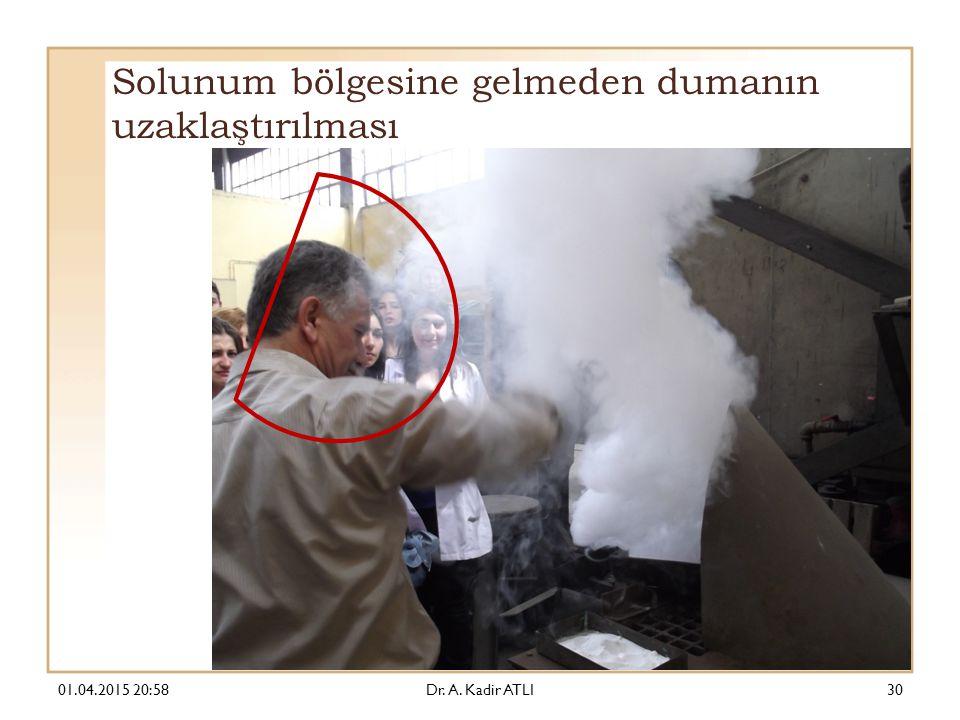 Solunum bölgesine gelmeden dumanın uzaklaştırılması 01.04.2015 21:00Dr. A. Kadir ATLI30