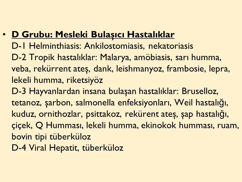 D Grubu: Mesleki Bulaşıcı Hastalıklar D-1 Helminthiasis: Ankilostomiasis, nekatoriasis D-2 Tropik hastalıklar: Malarya, amöbiasis, sarı humma, veba, rekürrent ateş, dank, leishmanyoz, frambosie, lepra, lekeli humma, riketsiyöz D-3 Hayvanlardan insana bulaşan hastalıklar: Bruselloz, tetanoz, şarbon, salmonella enfeksiyonları, Weil hastalı ğ ı, kuduz, ornithozlar, psittakoz, rekürent ateş, şap hastalı ğ ı, çiçek, Q Humması, lekeli humma, ekinokok humması, ruam, bovin tipi tüberküloz D-4 Viral Hepatit, tüberküloz