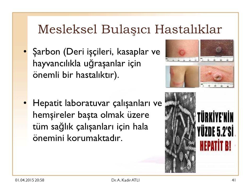 Mesleksel Bulaşıcı Hastalıklar Şarbon (Deri işçileri, kasaplar ve hayvancılıkla u ğ raşanlar için önemli bir hastalıktır).