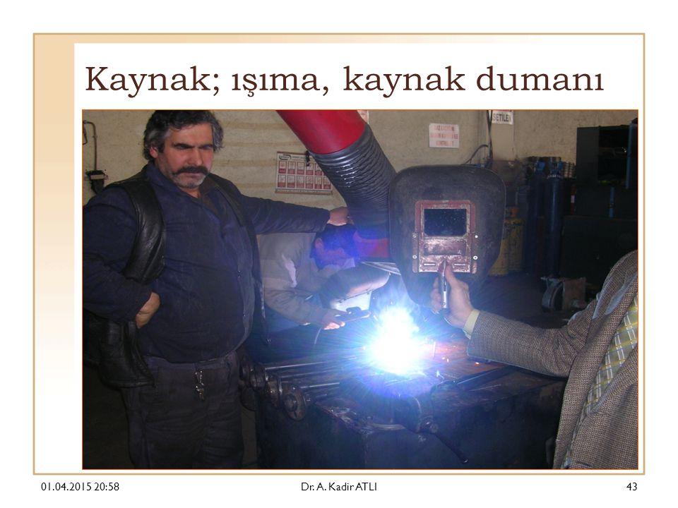 Kaynak; ışıma, kaynak dumanı 01.04.2015 21:00Dr. A. Kadir ATLI43
