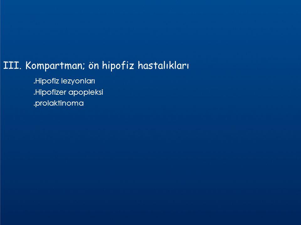 III. Kompartman; ön hipofiz hastalıkları.Hipofiz lezyonları.Hipofizer apopleksi.prolaktinoma