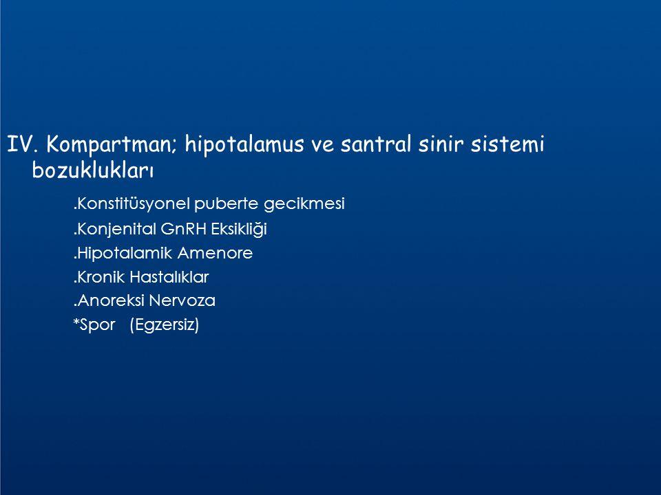 IV. Kompartman; hipotalamus ve santral sinir sistemi bozuklukları.Konstitüsyonel puberte gecikmesi.Konjenital GnRH Eksikliği.Hipotalamik Amenore.Kroni