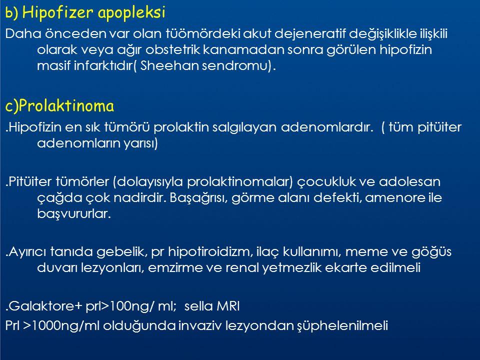 b) Hipofizer apopleksi Daha önceden var olan tüömördeki akut dejeneratif değişiklikle ilişkili olarak veya ağır obstetrik kanamadan sonra görülen hipo